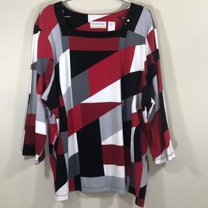 Alfred Dunner Top Size 2X Red Black White and Grey